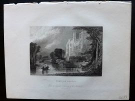 After Marshall 1834 Antique Print. Warwick Castle, UK